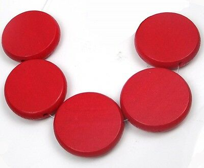 5 Wood Flat Round Disc Beads 34mm - Red
