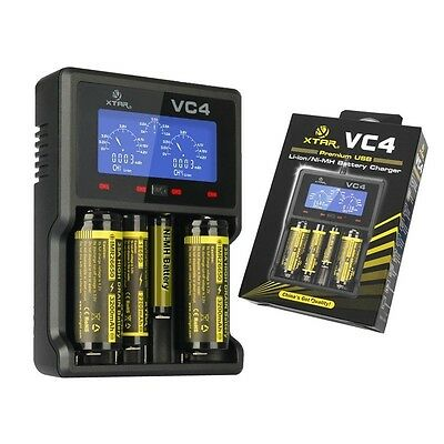 XTAR VC4 LCD Screen USB Battery Charger 18650 26650 32650 14500 AA AAA D Battery