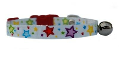 "White  pink red blue yellow purple  ""Star's ""   safety kitten cat collar 3 sizes"