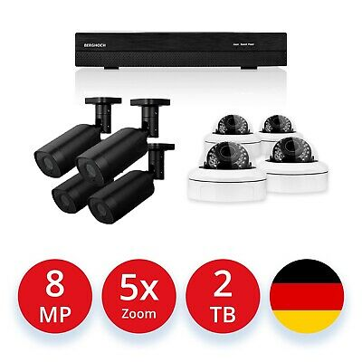 Videoüberwachung Set 5 MP Super HD POE 4x Aussen/4x Dome Kameras + 2000 GB HDD