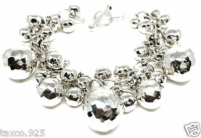 Taxco Mexican 925 Sterling Silver Graduated Hammered Beaded Bracelet Mexico