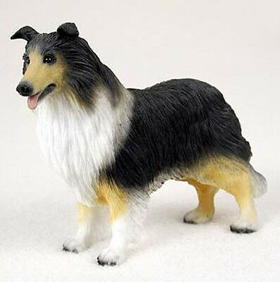 COLLIE (TRI COLOR) DOG Figurine Statue Hand Painted Resin Gift Pet Lovers