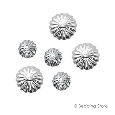 2 or 20 925 Serling Silver Bead Caps 9mm Flower Fluted Cap 1.2mm Hole Findings