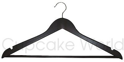 50Pk Classic Timber Chocolate Brown Wooden Clothes Coat Hanger With Silver Hook