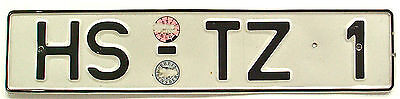 German License Plate Garage Germany HS-TZ1 Old Car Auto Tag 20.5 x 4.5 Inches