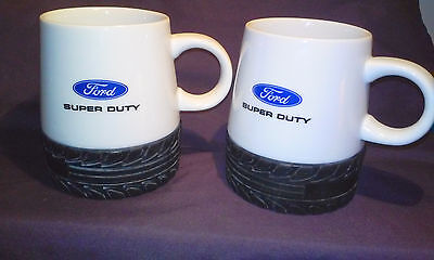 """Ford Super Duty Ceramic Coffee Mugs with Rubber """"Tire"""" Bottoms 2 Mugs"""