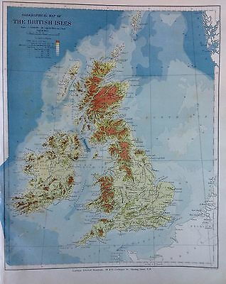 Stanford's Map British Isles c1880 London Atlas Universal Geography Orginal Rare