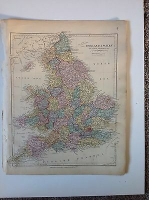 Stanford's Map England Wales c1880 London Atlas Universal Geography Origina Rare