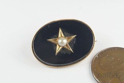 ANTIQUE VICTORIAN ENGLISH 9K GOLD ONYX PEARL MOURNING BROOCH c1880