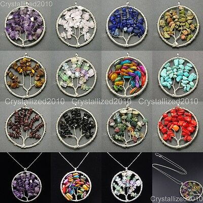 Natural Gemstone Reiki Chakra Chip Beads Tree of Life Healing Pendant Charm