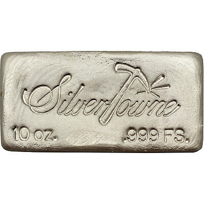 Hand-Poured 10oz .999 Fine Silver Bar by SilverTowne