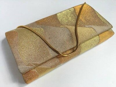 Vintage Japanese Gold Metalic Brocade Clutch Bag For Use When Wearing Kimono: I