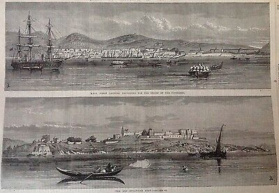 Old Original Antique Print 1867 Ship Ocean Byzantine Fort Earthquake Archipelago