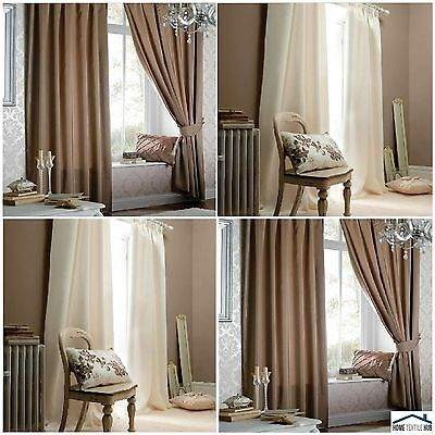 Catherine Lansfield Luxury Pencil Pleat Faux Silk Curtains in Latte or Cream !!!