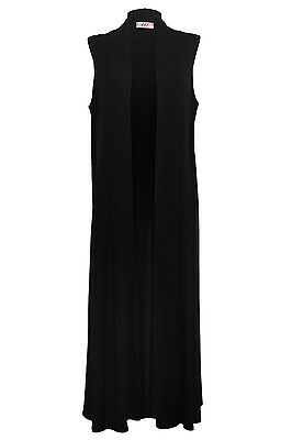 New Ladies Women Black Jersey Long Boyfriend Sleeveless Waistcoat