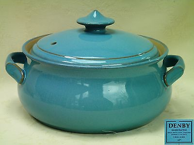 Denby Colonial Blue Covered Casserole Serving Vegetable Dish Excellent Condition