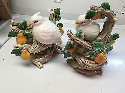 Vintage Fitz And Floyd Partridge In A Pear Tree Candlestick Holders - Japan
