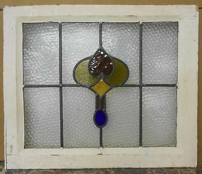 "OLD ENGLISH LEADED STAINED GLASS WINDOW Pretty Abstract Design 22.25"" x 18.5"""