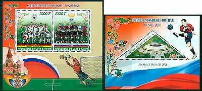 Football Soccer Russia 2018 World Cup FIFA Ivory Coast MNH stamp set 2val + s/s