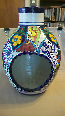 DECORATIVE POTTERY CHIMINEA MULTI-COLORED FLOWERS & LEAVES by HECHO EN MEXICO