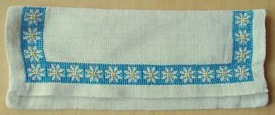 Swedish hand-cross-stitched linen napkin case with blue & yellow flowers