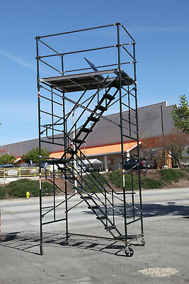 "Scaffolding Stairway Case Rolling Tower 5' X 7' X 14'2"" Deck High Cbm1290"