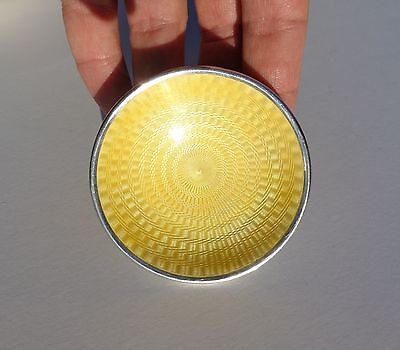 Extremely Rare Circa 1900 Miniature Yellow Enamel Guilloche Silver Plate Tray !