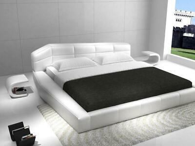 J&M Dream Contemporary White Eco Leather King Size Platform Bed