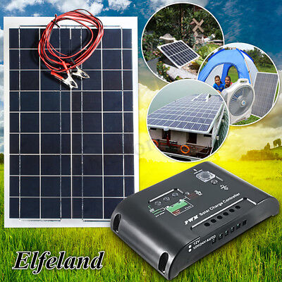 30W 12V Poly Semi Flexible Solar Panel Battery Charger+Controller +Cable Kit