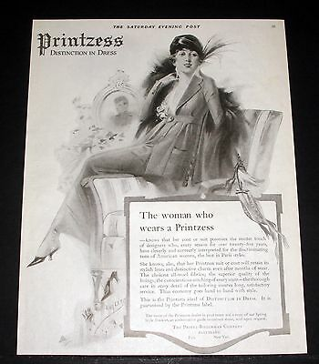 1919 Old Magazine Print Ad, Printzess Distinction In Dress, Women's Fashion Art!
