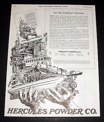 1919 Old Magazine Print Ad, Hercules Powder Company, At The Nation's Service!
