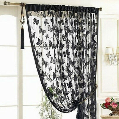Panel Valances Tassel Window Drape Curtains Voile Thin Sheer Butterfly