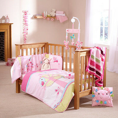 Clair de Lune Lottie & Squeek 2 Piece Cot Bed Quilt & Bumper Bedding Set, Pink