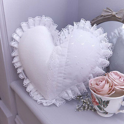 Clair de Lune Vintage Heart Shaped Cushion, White