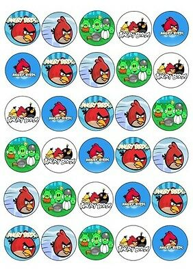 30 X Angry Birds Edible Cupcake Toppers Images Rice Paper 4Cm Diameter