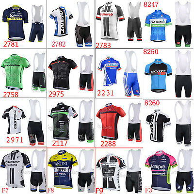 2017 Hot Fashion short sleeve Men's team cycling jersey set bib shorts AU8920
