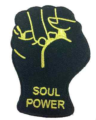 Soul Power Fist Black And Gold Embroidered Patch