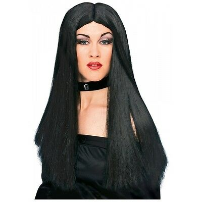 "24""Long Black Costume Wig Womens Hippie Witch Vampire Sorceress Cher Indian Girl"