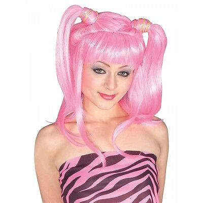 Pig Tails Costume Wig Adult Womens Pink Cosplay Anime Rave Halloween Fancy Dress
