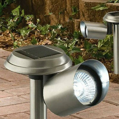 Solar Powered Stainless Steel LED Outdoor Spotlights Path Lights Garden Lighting