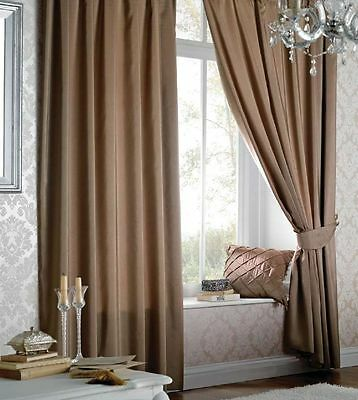 Catherine Lansfield Luxury Pencil Pleat Lined Faux Silk Curtains Latte SUPERSALE