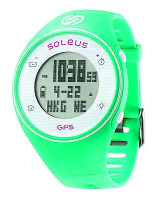 Soleus GPS One Running Watch Speed Distance Pace Calorie Counter Mint/White