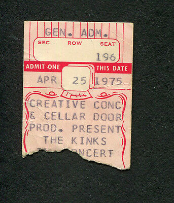 1975 The Kinks concert ticket stub William and Mary College Soap Opera