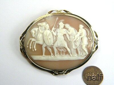 ANTIQUE VICTORIAN GOLD SHELL CAMEO BROOCH c1860 ANDROMACHE & HECTOR ACHILLES