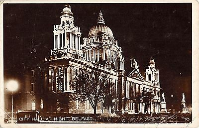 Northern Ireland Postcard Belfast City Hall At Night Real Photo RPPC H0 027