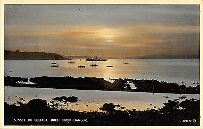 Northern Ireland Postcard Sunset On Belsfast Lough From Bangor J0 067