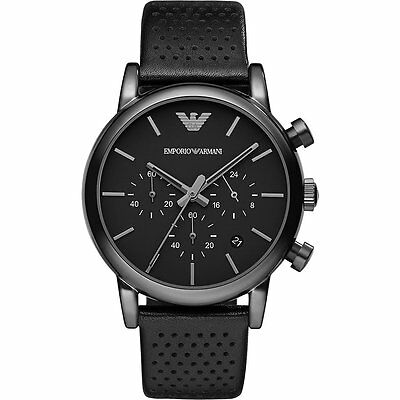New Emporio Armani Ar1737 Mens Black Watch - 2 Years Warranty - Certificate