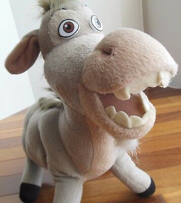 "Shrek 2 Donkey Dreamworks Plush Nanco 2004 Gray Mane 12"" height 16"" length"