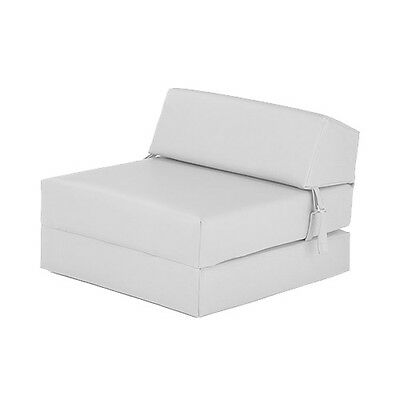 White Faux Leather Single Chair Z Bed Guest Fold Up Futon Chairbed Mattress Foam