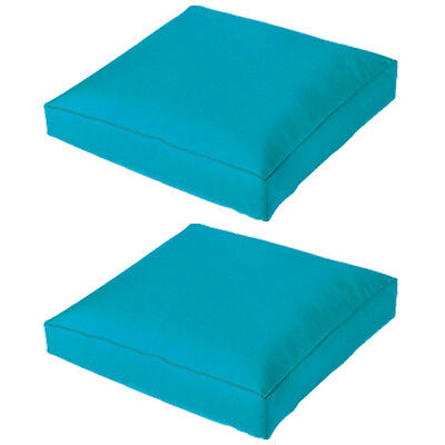 Turquoise 2 Pack Jumbo Large Waterproof Outdoor Cushion Chair Seat Pad Pillow